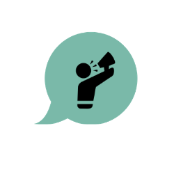 Illustration representing omni channel campaigning, a person with a megaphone