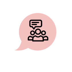 Illustration of internal communications, a group of people talking