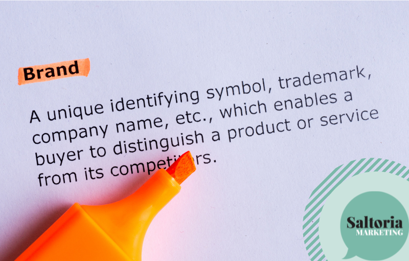 Black text on lilac paper. the header reads: brand. Orange highlighter placed on paper.