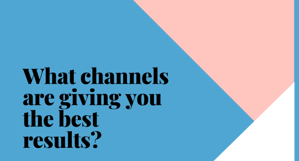 Text on plain background. Text reads: what channels are giving you the best results?