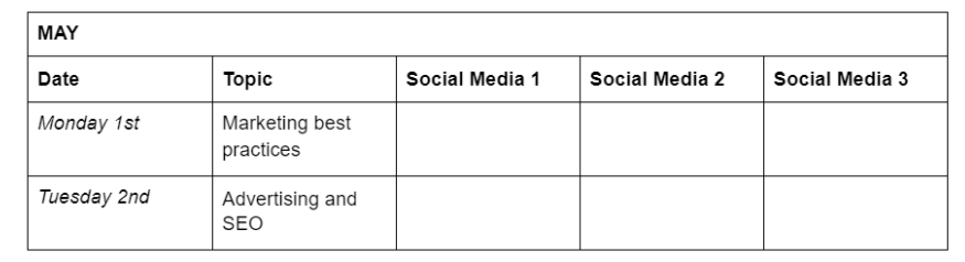 Table showing days of the week, topics and a list of social media channels