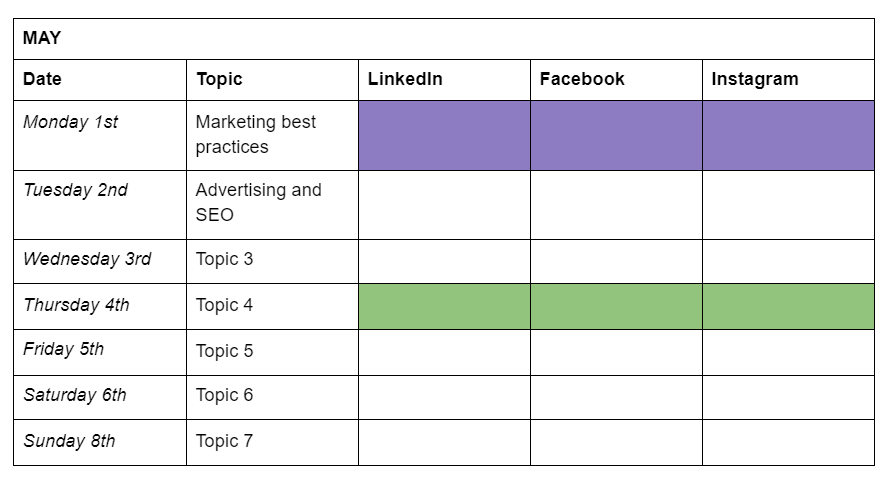 Table showing days of the week, topics, and social media channels